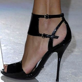 Ericdress Black Patent Leather Stiletto Sandals