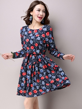 Ericdress Floral Print Round Neck Casual Dress