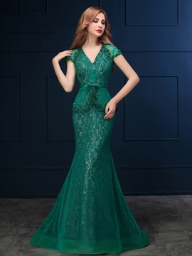 Ericdress Mermaid V-Neck Beading Lace Court Train Evening Dress