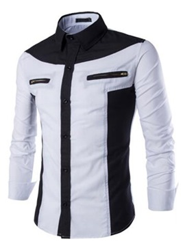 Ericdress Color Block Zip Design Men's Shirt
