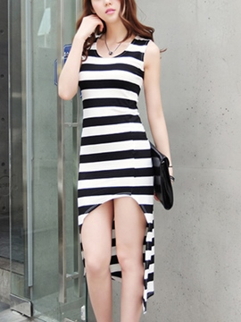 Ericdress Stripe Asymmetric Casual Dress