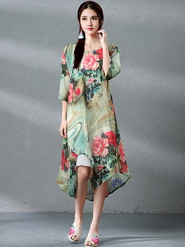 Ericdress Floral Print Asymmetric Chiffon Maxi Dress