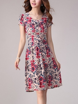 Ericdress Floral Print Pleated Round Neck Casual Dress