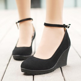 Ericdress Suede Ankle Strap Wedges