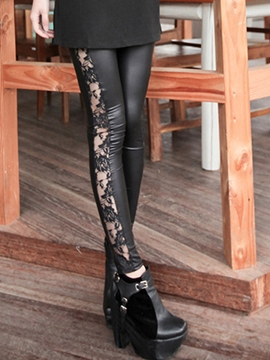 Ericdress Lace Patchwork Slim Leggings Pants