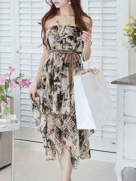 Ericdress Strapless Print Chiffon Casual Dress