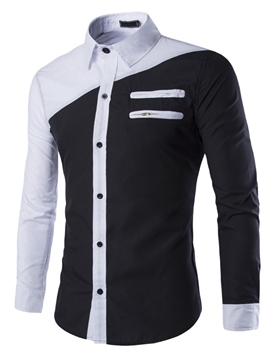 Ericdress Color Block Multi-Zip Slim Men's Shirt