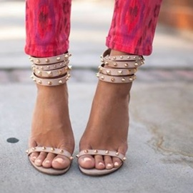 Ericdress Nude Stiletto Sandals with Rivets