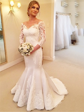 Ericdress High Quality V Neck Mermaid Wedding Dress With Sleeves