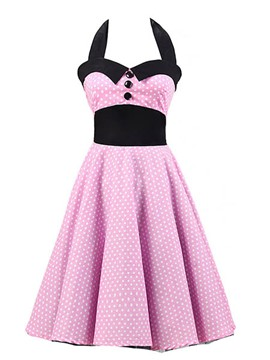 Ericdress Polka Dots Patchwork Rockabilly Casual Dress