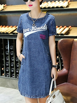 Ericdress Letter Print Short Sleeve Denim Casual Dress