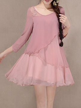 Ericdress Plain A-Line Double-Layer Chiffon Casual Dress