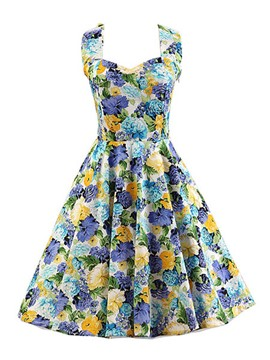 Ericdress Flower Print Patchwork Rockabilly Casual Dress
