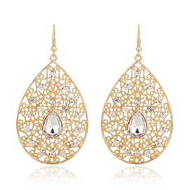 Ericdress Hollow Carving Water Drop Big Earrings