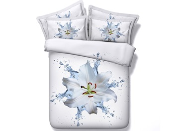 Ericdress White Water Lily Print 3D Bedding Sets