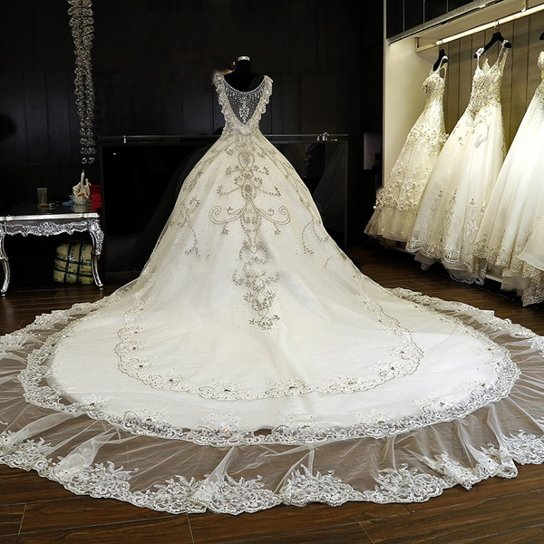 Ericdress luxury v neck beaded cathedral train wedding for Guangzhou wedding dress market