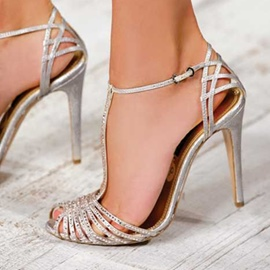 Ericdress Silver Slim Strap Hollow Out Stiletto Sandals