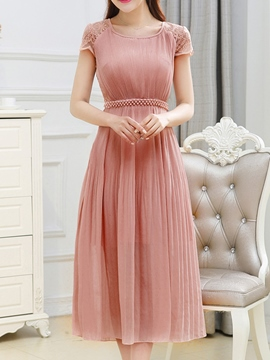 Ericdress Lace Patchwork Pleated Bead Maxi Dress