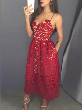Ericdress Spaghetti Straps Ankle-Length Prom Dress
