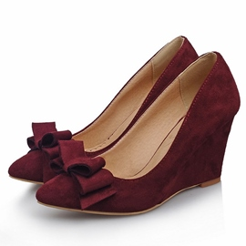Ericdress Suede Point Toe Wedges with Bowtie