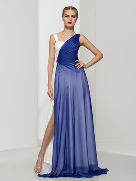 Ericdress Straps Split-Front Pleats Evening Dress