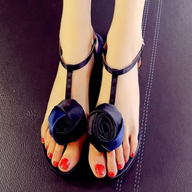 Ericdress Satin Rose T Strap Flat Sandals