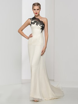 Ericdress A-Line One Shoulder Appliques Long Evening Dress