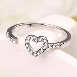 Ericdress Hollow Diamante Heart Shape Open Ring