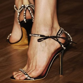 Ericdress Exquisite Lace Up Rhinestone Stiletto Sandals