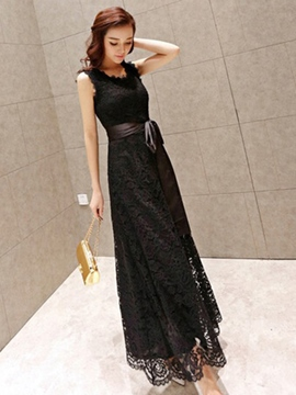 Ericdress Plain Sleeveless Lace Dress