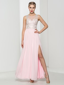 Ericdress Scoop Neck Appliques Sequins Split-Front Prom Dress