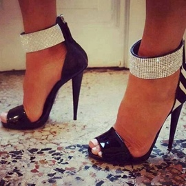 Ericdress Special Rhinestone Strap Ankle Wrap Stiletto Sandals