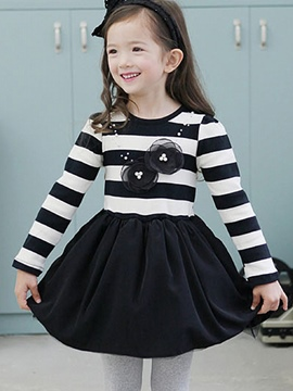 Ericdress Stripe Long Sleeve Girls Dress