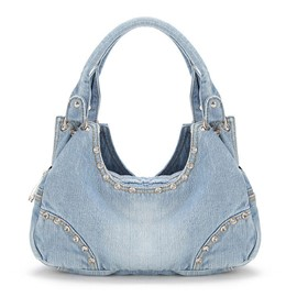 Ericdress Personality Diamante Denim Handbag