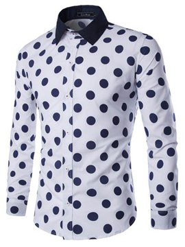 Ericdress Big Polka Dots Slim Design Men's Shirt
