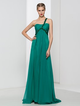 Ericdress One-Shoulder Beading Pleats Long Prom Dress