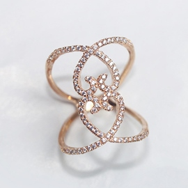 Ericdress Irregular Heart Zircon Ring