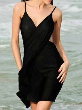 Ericdress Plain Cross Backless Spaghetti Strap Cover-Up