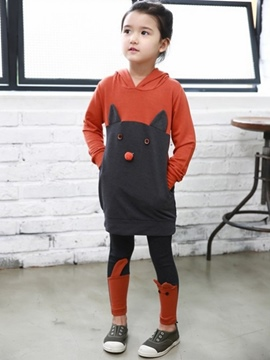 Ericdress Cartoon Hooded Girls Outfit