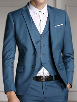 Ericdress Solid Color Three-Piece of Men's Suit