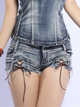 Ericdress Skinny Lace-Up Skinny Shorts