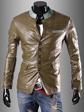 Ericdress Stand Collar Slim Men's PU Jacket