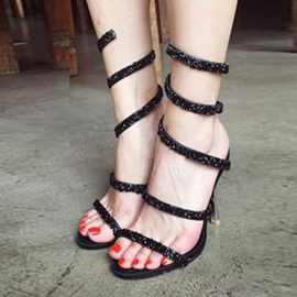 Ericdress Rhinestone Serpentine Strappy Stiletto Sandals