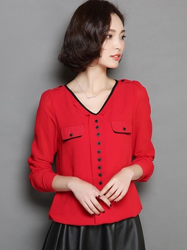 Ericdress Loose V-Neck Button Blouse