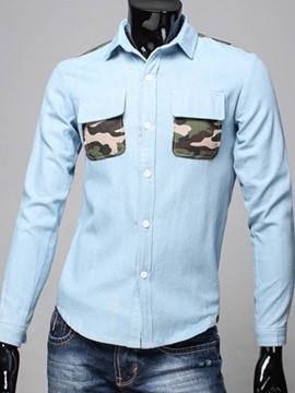 Ericdress Camouflage Patched Casual Denim Men's Shirt