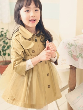 Ericdress Plain Mesh Patchwork Girls Trench Coat