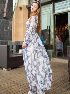 Ericdress Floral Print Off-the-Shoulder Maxi Dress