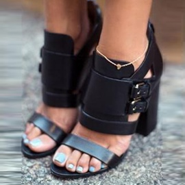 Ericdress Cool Black Gladiator Chunky Sandals
