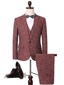 Ericdress Red Plaid Three-Piece Elegant Men's Suit