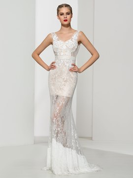 Ericdress Sheath SequinsTassel Lace Evening Dress